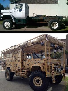 "This flat bed truck has been transformed into the ultimate camo bug out ride AKA ""The Survivor Truck"". The truck is armored with steel and fiberglass and features and active faraday cage to protect valuable electronic equipment in the case of an EMP attack and prevent electronic eves dropping."