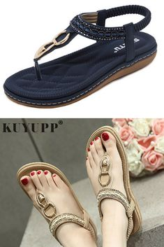 Fashion Leather Women Sandals Bohemian Diamond Slippers Woman Flats Flip  Flops Shoes Summer Beach Sandals size10 YDT563 just for  15. 3a75e628405a