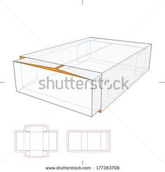 Tray and Sleeve Storage Box with Die-cut Layout - stock vector