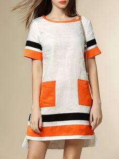 Shop Mini Dresses - White Crew Neck Linen Color-block Short Sleeve Mini Dress online. Discover unique designers fashion at StyleWe.com.