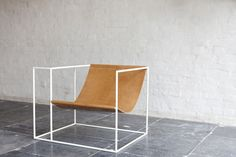Furniture Design. Armchair. Wood. White. Metal Frame. Decor.