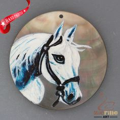 HAND PAINTED HORSE NATURAL MOTHER OF PEARL SHELL NECKLACE PENDANT ZH30 00336 #ZL #PENDANT
