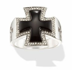 14k White Gold Diamond and Black Onyx Malta Cross Ring