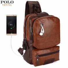 4969a1adb3 VICUNA POLO Anti-theft External USB Charge Messenger Bag Men Cross-body Bag  (