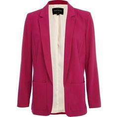 River Island Pink unfastened smart blazer ($68) ❤ liked on Polyvore