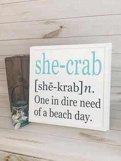 Beach sign crab sign coastal decor crab decor gift for her beach house decor woo…