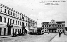 Os hotéis Roma e Tassi  e a estação se destacando nessa imagem dos anos 1920.