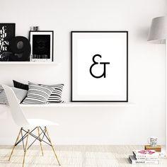 Ampersand Wall Art typography art print, ampersand sign, home decor, minimalist