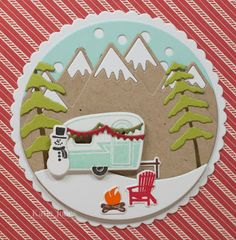 Camper Christmas Card with T & T elements (pinecone)