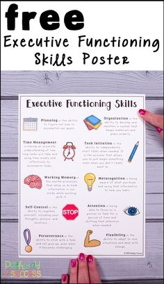 Use this free printable executive functioning poster to highlight the critical executive functioning skills including planning organization time management task initiatio. Coping Skills, Social Skills, Life Skills, Working Memory, School Social Work, Executive Functioning, Social Thinking, Social Emotional Learning, School Psychology