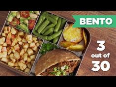 FIRST Bento Box in our series! Healthy vegan lunch with brown rice salad, vegan bean meatballs, & chocolate apricots! Stick around for a new bento box idea e...