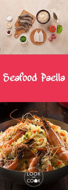 """""""Seafood Paella Recipe Seafood paella recipe (LC14310 ) - An iconic dish from Valencia in Spain, paella is comforting with a peculiar taste of saffron scented rice and fresh seafood."""""""