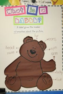 Mrs. Lee's Kindergarten: September 2011 Lesson on labeling using teddy bears and the teacher.  How fun! Labels