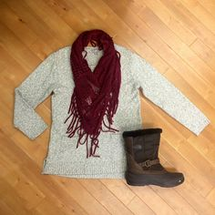 Cooler Days Ahead  Be Prepared J Jill Sweater -- Size S -- $22! Hinge Scarf -- $6! North Face Boots -- Size 9.5 -- $30!  - - - #cooler #days #ahead #be #prepared #fall #fashion #fallfashion #jjill #sweater #hinge #scarf #northface #thenorthface #boots #outfit #outfitideas #outfits #sweetdeals #save #money #savemoney #shopclothesmentor #namebrands #whypaymore