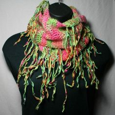 Apple Watermelon crocheted neck warmer scarf by TemptressYarn