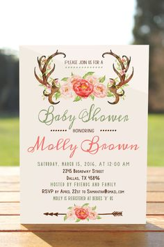 Floral and Antler Baby Girl Shower Invitation from Etsy featured on Monday Morning Coffee - Actually Ashley