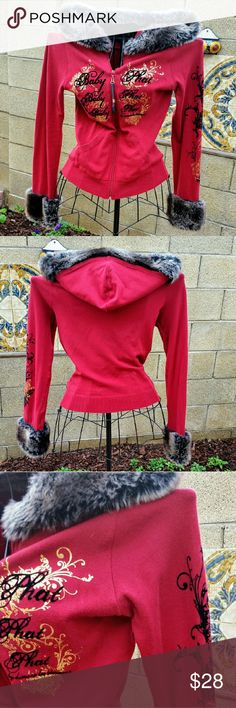 Baby Phat Faux Fur Hoodie Fun knit hoodie with faux fur sleeves and hood trim. EUC Warm and very flattering! Original early 2000's Kimora Lee Simmons Baby Phat line, only worn a few times. Baby Phat Jackets & Coats