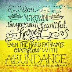 Psalm 65:11 ~ You crown the year with bountiful harvest; even the hard pathways overflow with abundance.