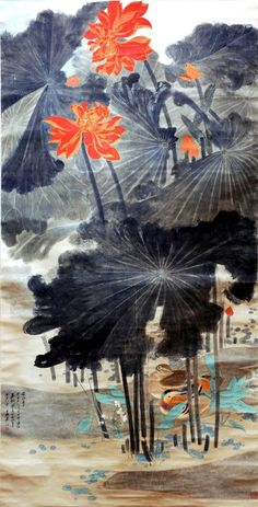 Lotus and Mandarin Ducks Artist: Chang Dai-chien Completion Date: 1947 Style: Impressionism, Ink and wash painting Genre: flower painting Lotus Painting, Ink Painting, Art Chinois, Art Asiatique, Art Japonais, China Art, Chinese Painting, Botanical Art, Japanese Art