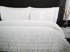 cynthia rowley full/queen white ruffle bedding comforter and sham