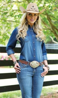 83f427bb28d Wrangler Women s Premium Long Sleeve Western Denim Shirt with One Point  Front and Back Yokes.