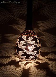 gourd pendant lamp II – M.Escher by Calabarte. Light Bulb Chandelier, Light Bulb Art, Chandelier Art, Cloud Lights, Diy Light Fixtures, Gourd Lamp, Painted Gourds, Sign Lighting, Light Crafts