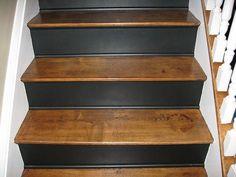 ideas farmhouse staircase stair risers for 2019 Painted Stair Risers, Painted Staircases, Spiral Staircases, Cottage Stairs, House Stairs, Staircase Makeover, Staircase Ideas, Stair Redo, Staircase Design