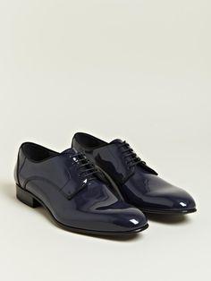 Lanvin Men's Patent Calfskin Derby Shoes