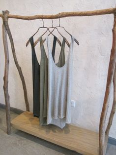 love the clothes rack. definitely great if you run out of closet space :) Source by clothing rack Diy Clothes Rack, Hanging Clothes, Wood Clothing Rack, Wooden Clothes Rack, Rustic Clothing, Wooden Closet, Clothing Displays, Clothing Stores, Boutique Clothing