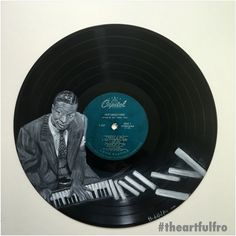 #vinylart of Nat King Cole on 12 inch vinyl record. #theartfulfro #jazz #natkingcole #vinyljunkie #art