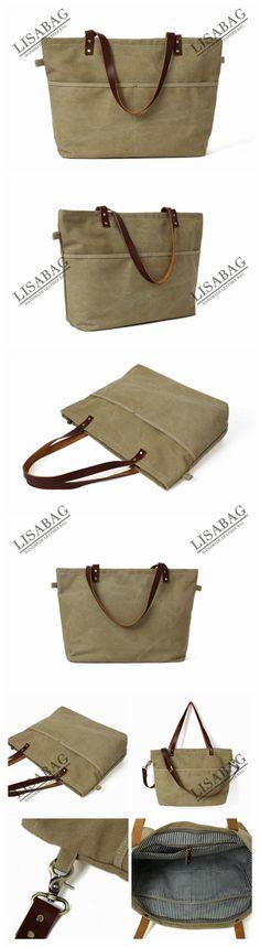 Handmade Khaki Canvas Tote Bag Messenger Bag Shoulder Bag School Bag Handbag 14022--LISABAG
