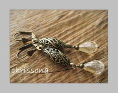 Ohrhänger Citrin Tropfen vintage style bronze von chrissona auf DaWanda.com