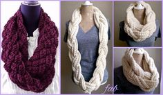 Crochet Braided Scarf Free Patterns: Crochet Braided Infinity Scarf Free Pattern, crochet woven scarf cowl