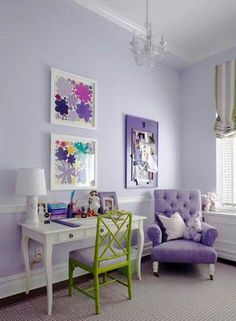 subtle purple, not too strong- little girls room that can grow with her