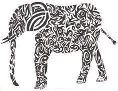 Tribal Elephant by iamthecrazymonkey on DeviantArt Elephant Outline, Tribal Elephant, Elephant Tattoo Design, Elephant Design, Love Tattoos, Body Art Tattoos, Tangle Patterns, Get A Tattoo, Tattoo Images