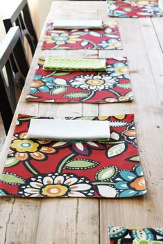 Cloth Placemats  Red Big Floral  Set of 4 by toocutecustomcrafts, $34.00