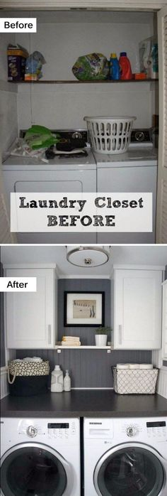 Best 20 Laundry Room Makeovers - Organization and Home Decor Laundry room decor Small laundry room organization Laundry closet ideas Laundry room storage Stackable washer dryer laundry room Small laundry room makeover A Budget Sink Load Clothes Laundry Room Remodel, Laundry Room Cabinets, Laundry Closet, Laundry Room Organization, Diy Cabinets, Bathroom Closet, Small Bathroom, Closet Remodel, Laundry Tips