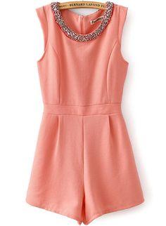 Pink Sleeveless Rhinestone Round Neck Jumpsuit
