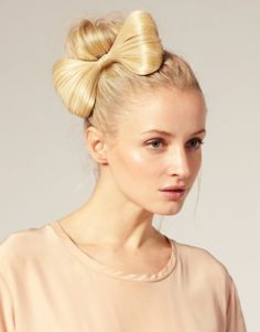 Bow and bun hairstyle
