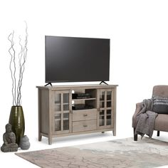 WYNDENHALL Stratford Tall Distressed Grey TV Media Stand for TV's up to 60 Inches | Overstock.com Shopping - The Best Deals on Entertainment Centers
