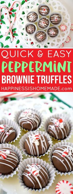 These easy peppermint brownie truffles are perfect for holiday parties and potlucks, and they make a great Christmas gift idea for friends, neighbors, and teachers! via christmassweets christmasbaking christmaspotluck christmastruffles chri Christmas Potluck, Christmas Desserts, Holiday Treats, Holiday Recipes, Holiday Parties, Christmas Recipes, Healthy Christmas Treats, Candy Recipes, Christmas Christmas