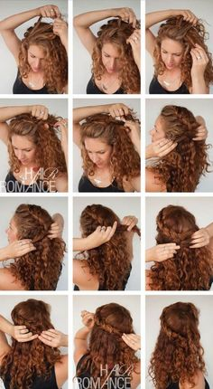 Short hair for wedding up dos 45 Super Ideas Curly Hair Braids, Curly Hair Care, Long Curly Hair, Curly Hair Styles, Natural Hair Styles, Style Curly Hair, Thick Frizzy Hair, Curly Girl, Curly Hair Tutorial