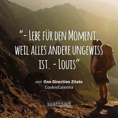 """""""- Lebe für den Moment, weil alles andere ungewiss ist. - Louis"""" - von One Direction Zitate (auf Wattpad) https://www.wattpad.com/30085119?utm_source=ios&utm_medium=pinterest&utm_content=share_quote&wp_page=quote&wp_uname=Welli007&wp_originator=sN96rwxorpclvPSz%2Fb5ZW3%2BdMbu4eSTkQgewdMd%2BZlqYbpnCVGHwP4GHUPSkmgSd4cfQitEnMEsLynckFGPhrrNUhFnTuWODK42NVWSWQkyhBajR%2Bdp5ZYZY5FXRthsx #quote #wattpad"""