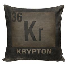 Decorative Cotton Pillow Cover Cushion Carbon Periodic Table of Elements by WattsonandBulb Geek Science Nerd Decor Black Mink Distressed Restoration Hardware Style Switch Covers, Antique Stores, Cotton Pillow, Restoration Hardware, Own Home, Fabric Patterns, Superman