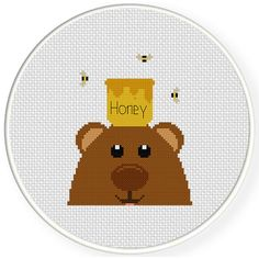 FREE for April 24th 2015 Only - Bear Loves Honey Cross Stitch Pattern