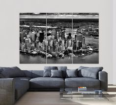 New York Skyline Aerial canvas art stretched and ready to hang. Canvas is professionally hand-stretched and gallery-wrapped at my Holy Cow Canvas studio. I strive to find the best materials at the bes Cincinnati Skyline, Detroit Skyline, Nashville Skyline, New York Skyline, Cow Canvas, Large Canvas, Canvas Wall Art, New York Canvas, New York Art