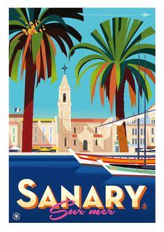 Posters Sanary & autres curiosités... - Monsieur Z - Illustration Monsieur.Z vintage-style poster