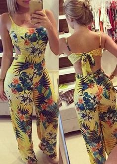 New Women Summer Clubwear Floral Playsuit Bodycon Party Jumpsuit Romper Trousers Rompers Women, Jumpsuits For Women, Long Jumpsuits, Evening Jumpsuits, Fashion Jumpsuits, Trousers Fashion, Backless Jumpsuit, Bodycon Jumpsuit, Jumpsuit Outfit