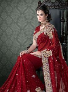 Maroon Georgette Wedding Saree