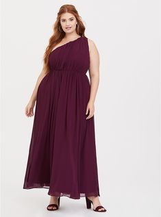 2a5cb89102 Plus Size Special Occasion Burgundy One Shoulder Chiffon Gown